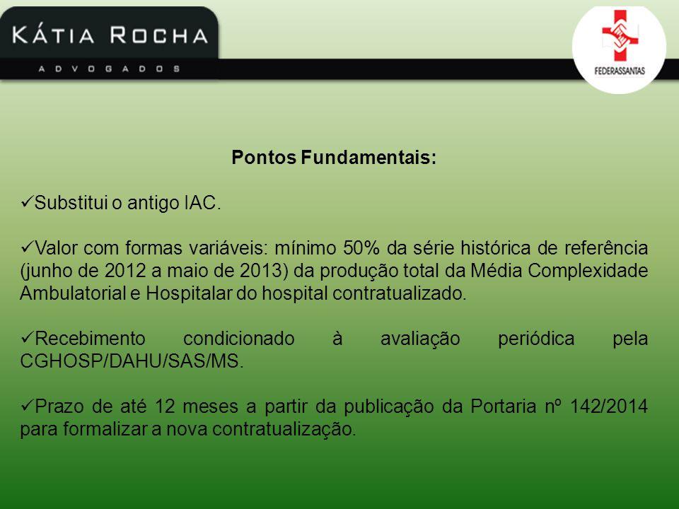 Pontos Fundamentais: Substitui o antigo IAC. Valor com formas variáveis: mínimo 50% da série histórica de referência (junho de 2012 a maio de 2013) da