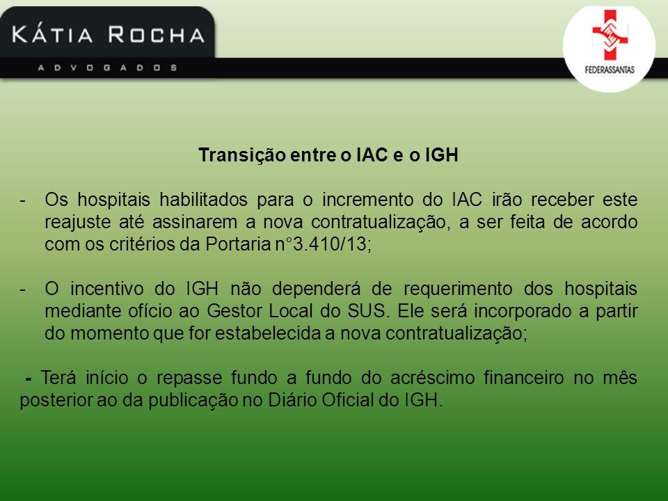 Transição entre o IAC e o IGH -Os hospitais habilitados para o incremento do IAC irão receber este reajuste até assinarem a nova contratualização, a s