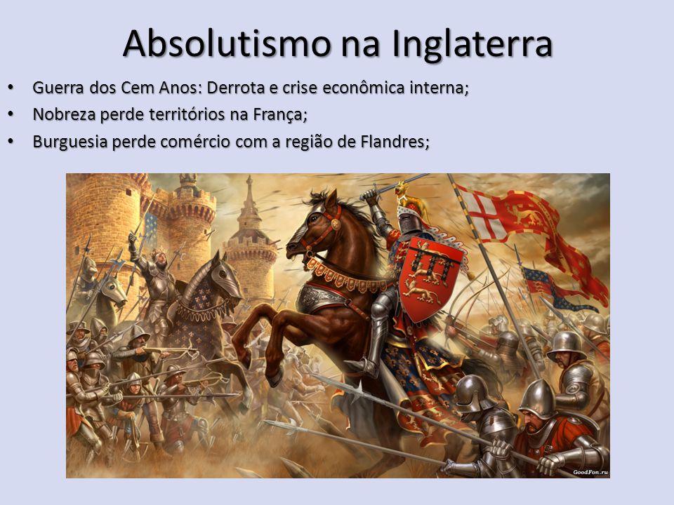 Absolutismo na Inglaterra Guerra dos Cem Anos: Derrota e crise econômica interna; Guerra dos Cem Anos: Derrota e crise econômica interna; Nobreza perd