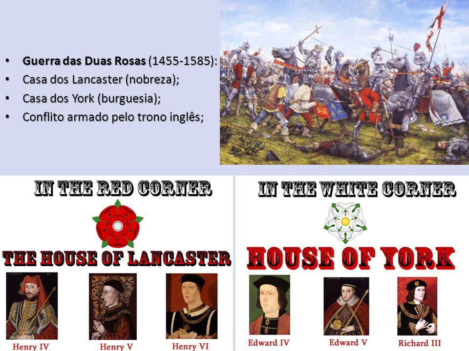 Guerra das Duas Rosas (1455-1585): Guerra das Duas Rosas (1455-1585): Casa dos Lancaster (nobreza); Casa dos Lancaster (nobreza); Casa dos York (burguesia); Casa dos York (burguesia); Conflito armado pelo trono inglês; Conflito armado pelo trono inglês;
