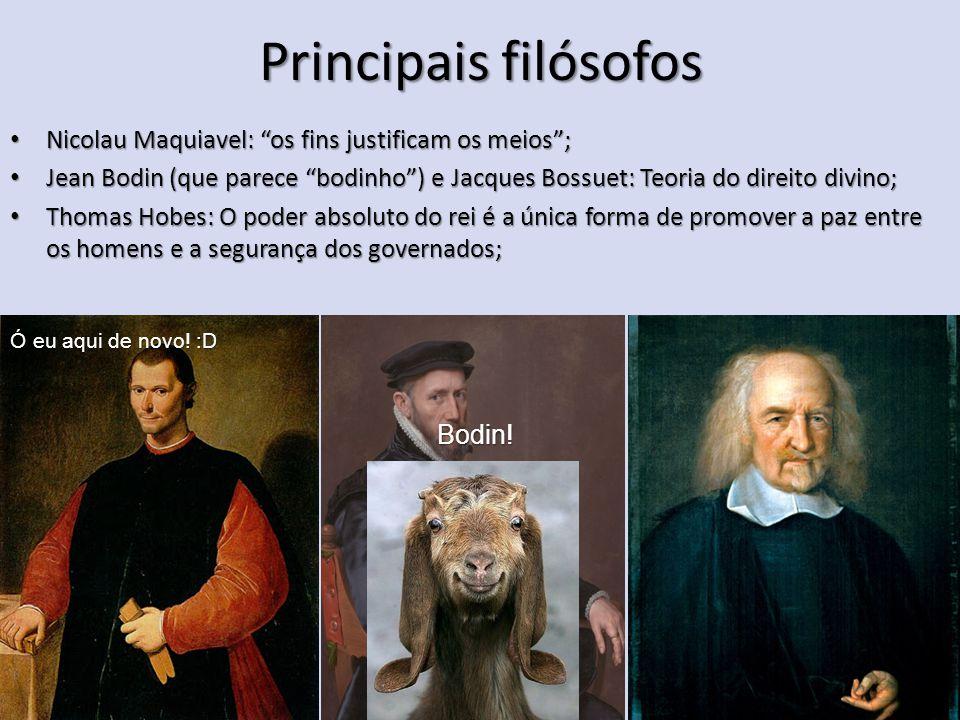 """Principais filósofos Nicolau Maquiavel: """"os fins justificam os meios""""; Nicolau Maquiavel: """"os fins justificam os meios""""; Jean Bodin (que parece """"bodin"""