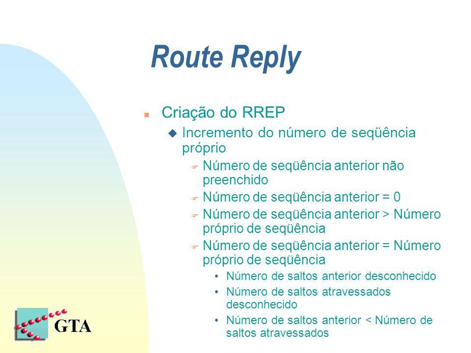 Route Reply n Criação do RREP u Incremento do número de seqüência próprio F Número de seqüência anterior não preenchido F Número de seqüência anterior