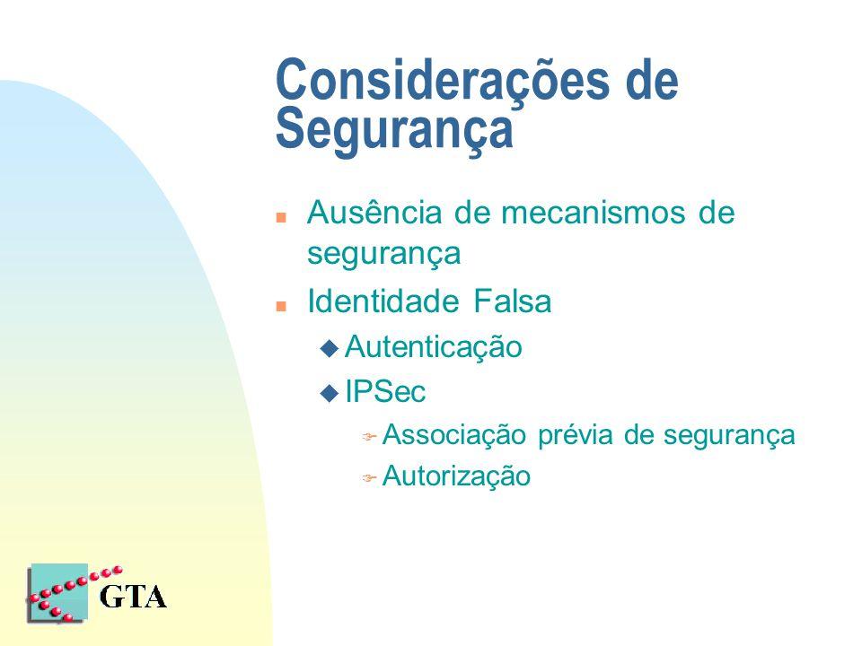 Considerações de Segurança n Ausência de mecanismos de segurança n Identidade Falsa u Autenticação u IPSec F Associação prévia de segurança F Autoriza