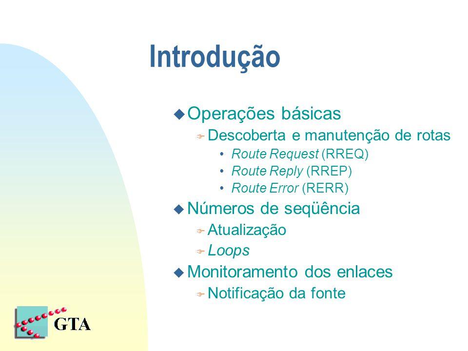 Introdução u Operações básicas F Descoberta e manutenção de rotas Route Request (RREQ) Route Reply (RREP) Route Error (RERR) u Números de seqüência F Atualização F Loops u Monitoramento dos enlaces F Notificação da fonte