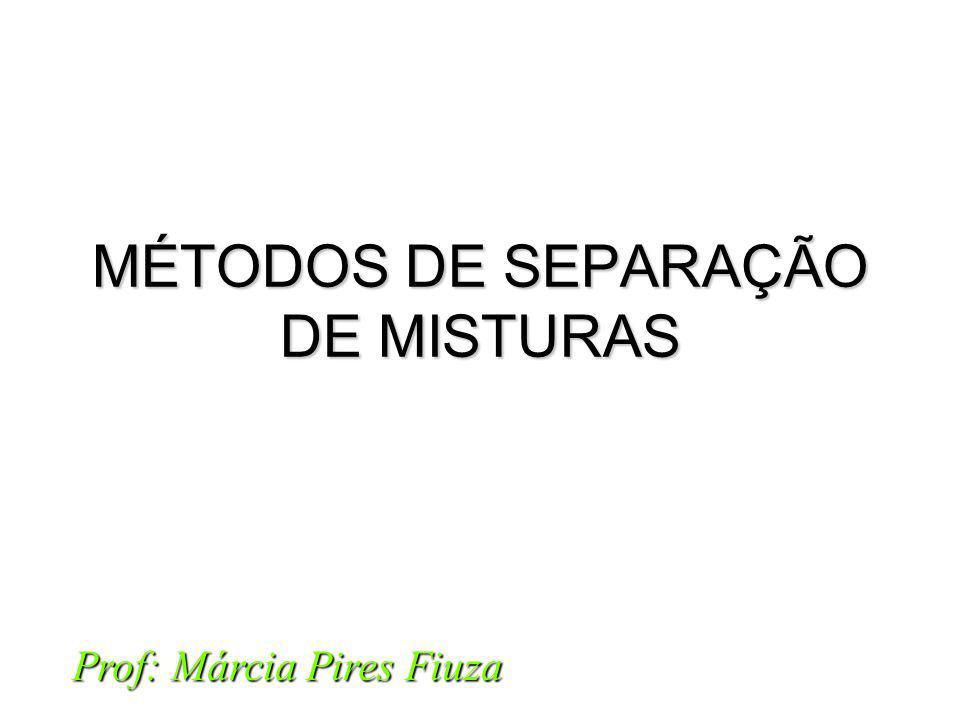 MÉTODOS DE SEPARAÇÃO DE MISTURAS Prof: Márcia Pires Fiuza