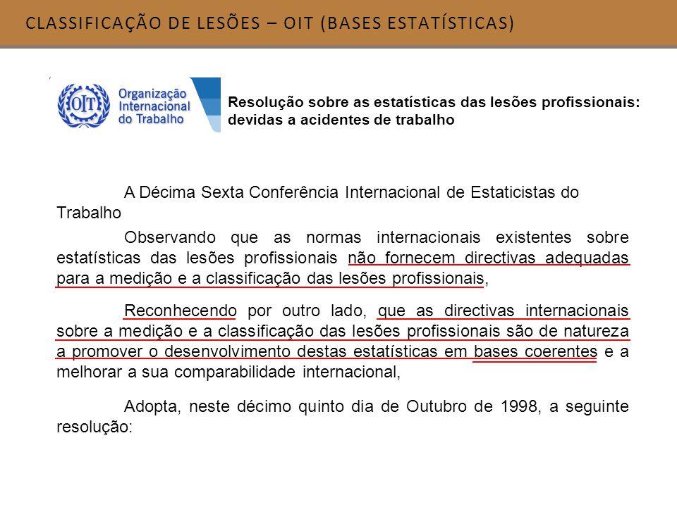 CLASSIFICAÇÃO DE LESÕES – OIT (BASES ESTATÍSTICAS) Resolução sobre as estatísticas das lesões profissionais: devidas a acidentes de trabalho A Décima