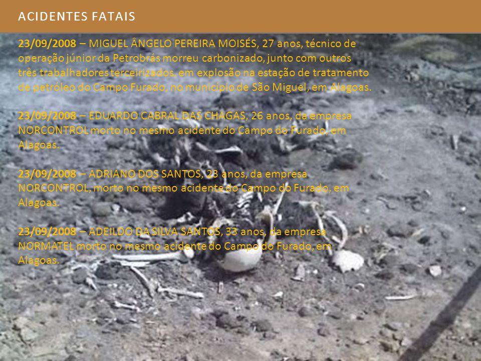 23/09/2008 – MIGUEL ÂNGELO PEREIRA MOISÉS, 27 anos, técnico de operação júnior da Petrobrás morreu carbonizado, junto com outros três trabalhadores te