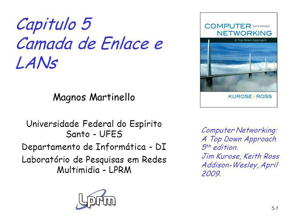 5-1 Capitulo 5 Camada de Enlace e LANs Computer Networking: A Top Down Approach 5 th edition. Jim Kurose, Keith Ross Addison-Wesley, April 2009. Magno