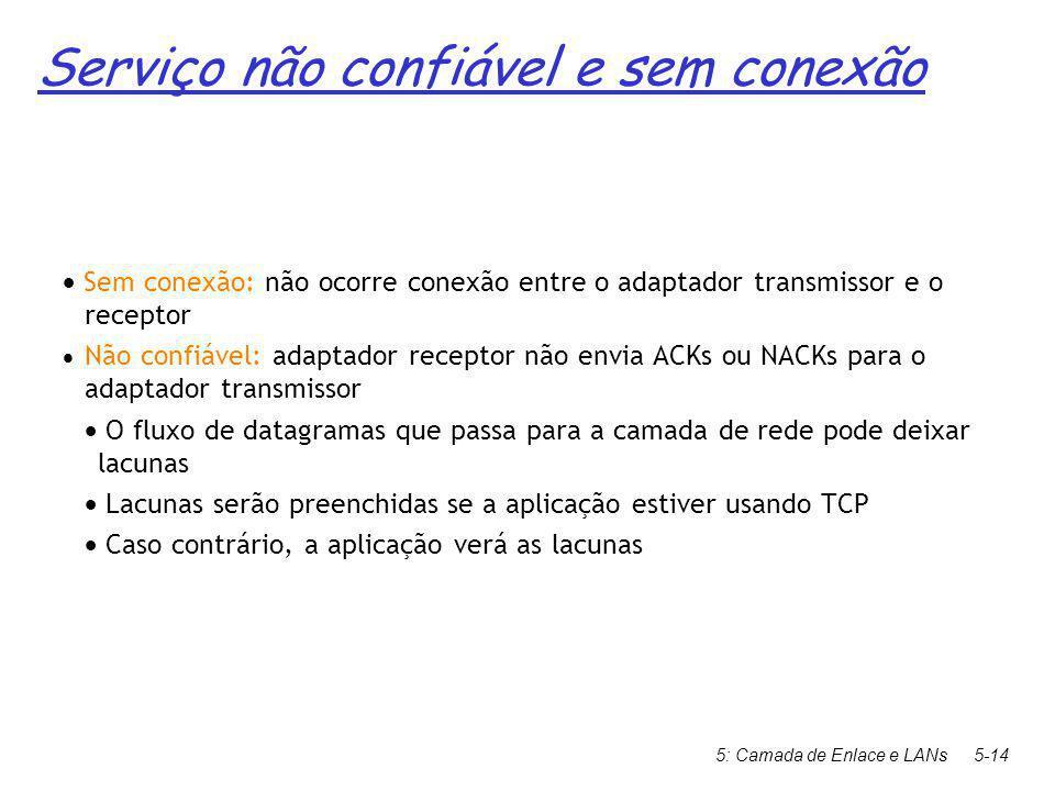 5: Camada de Enlace e LANs5-14  Sem conexão: não ocorre conexão entre o adaptador transmissor e o receptor  Não confiável: adaptador receptor não envia ACKs ou NACKs para o adaptador transmissor  O fluxo de datagramas que passa para a camada de rede pode deixar lacunas  Lacunas serão preenchidas se a aplicação estiver usando TCP  Caso contrário, a aplicação verá as lacunas Serviço não confiável e sem conexão