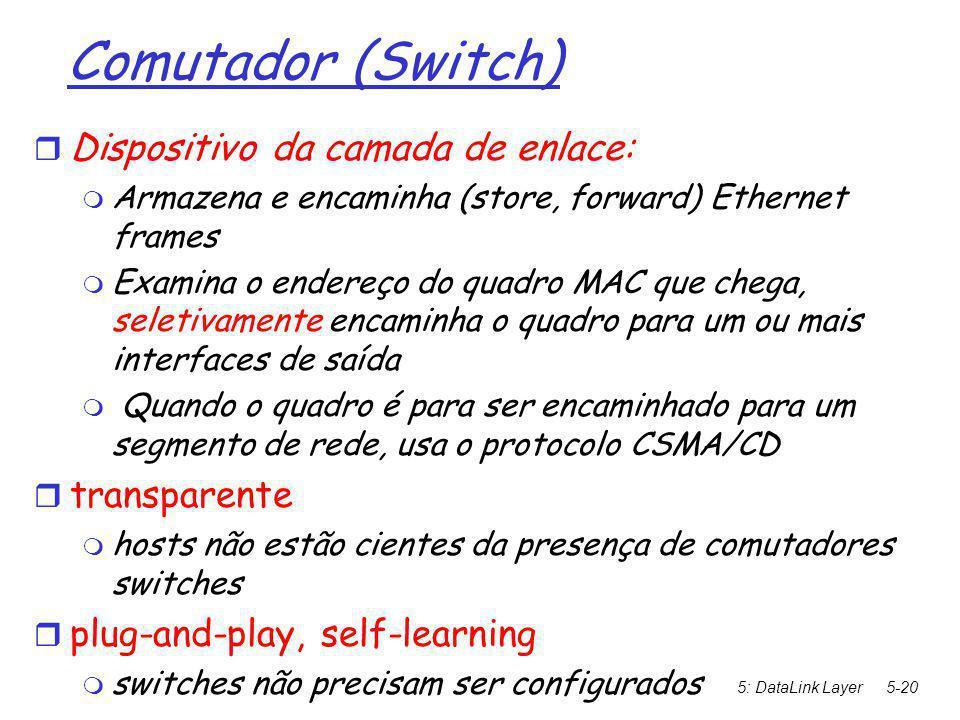 5: DataLink Layer5-20 Comutador (Switch)   Dispositivo da camada de enlace:  Armazena e encaminha (store, forward) Ethernet frames  Examina o endereço do quadro MAC que chega, seletivamente encaminha o quadro para um ou mais interfaces de saída  Quando o quadro é para ser encaminhado para um segmento de rede, usa o protocolo CSMA/CD  transparente  hosts não estão cientes da presença de comutadores switches  plug-and-play, self-learning  switches não precisam ser configurados