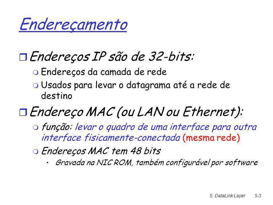 5: DataLink Layer5-3 Endereçamento  Endereços IP são de 32-bits:  Endereços da camada de rede  Usados para levar o datagrama até a rede de destino  Endereço MAC (ou LAN ou Ethernet):  função: levar o quadro de uma interface para outra interface fisicamente-conectada (mesma rede)   Endereços MAC tem 48 bits  Gravada na NIC ROM, também configurável por software