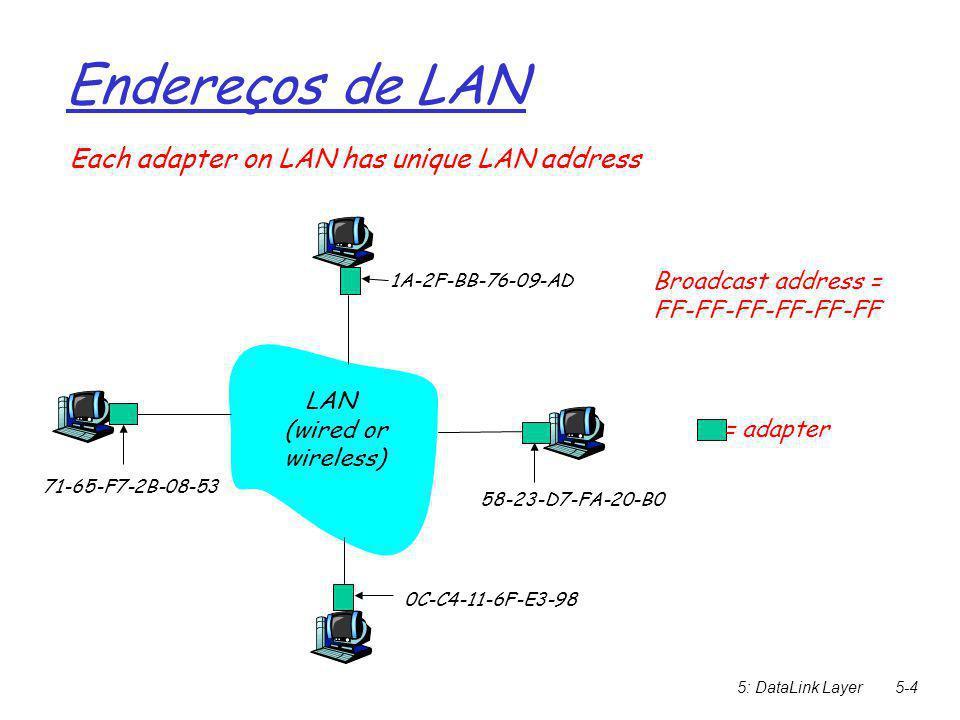 5: DataLink Layer5-5 Endereços de LAN   A alocação de endereços MAC é administrada pelo IEEE  O fabricante compra porções do espaço de endereço MAC (para assegurar a unicidade)   Analogia: (a) endereço MAC: semelhante ao número do RG (b) endereço IP: semelhante a um endereço postal  Endereçamento MAC é flat => portabilidade  É possível mover uma placa de LAN de uma rede para outra sem reconfiguração de endereço MAC  Endereçamento IP hierárquico => NÃO portável  Depende da rede na qual se está ligado