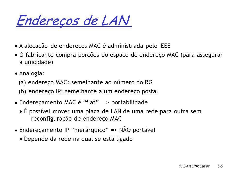 5: Camada de Enlace e LANs5-16 1.