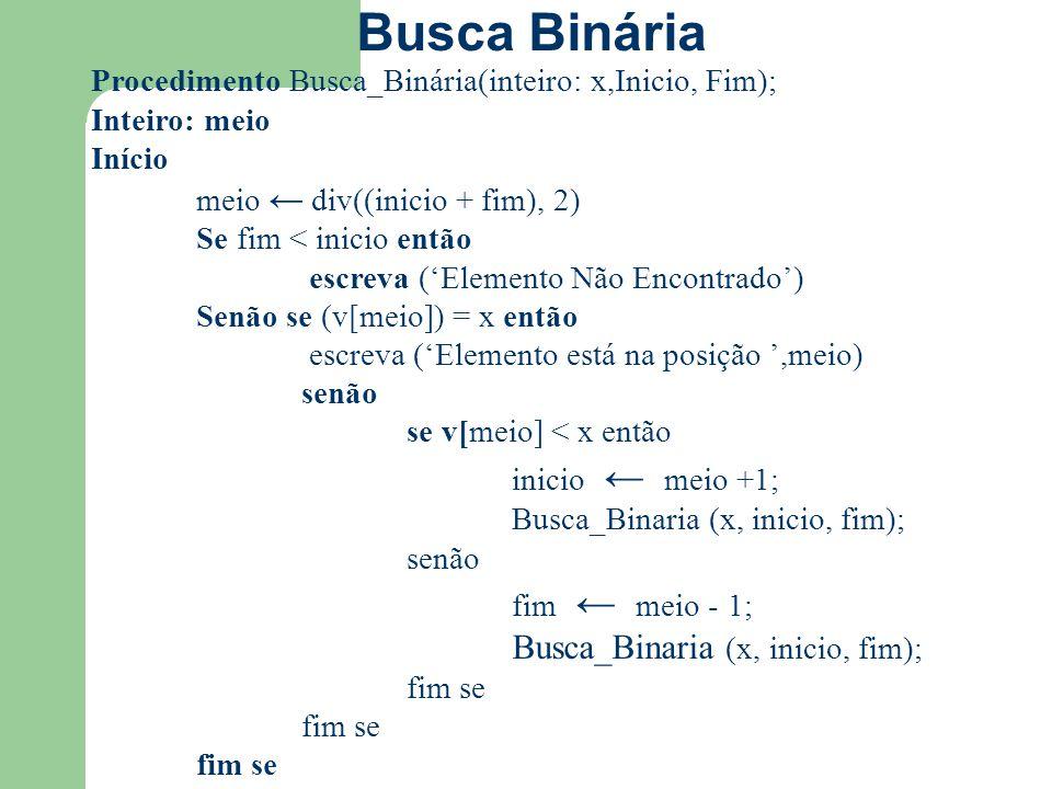 Procedimento Busca_Binária(inteiro: x,Inicio, Fim); Inteiro: meio Início meio ← div((inicio + fim), 2) Se fim < inicio então escreva ('Elemento Não En