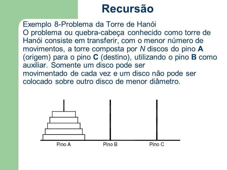 Exemplo 8-Problema da Torre de Hanói O problema ou quebra-cabeça conhecido como torre de Hanói consiste em transferir, com o menor número de movimento