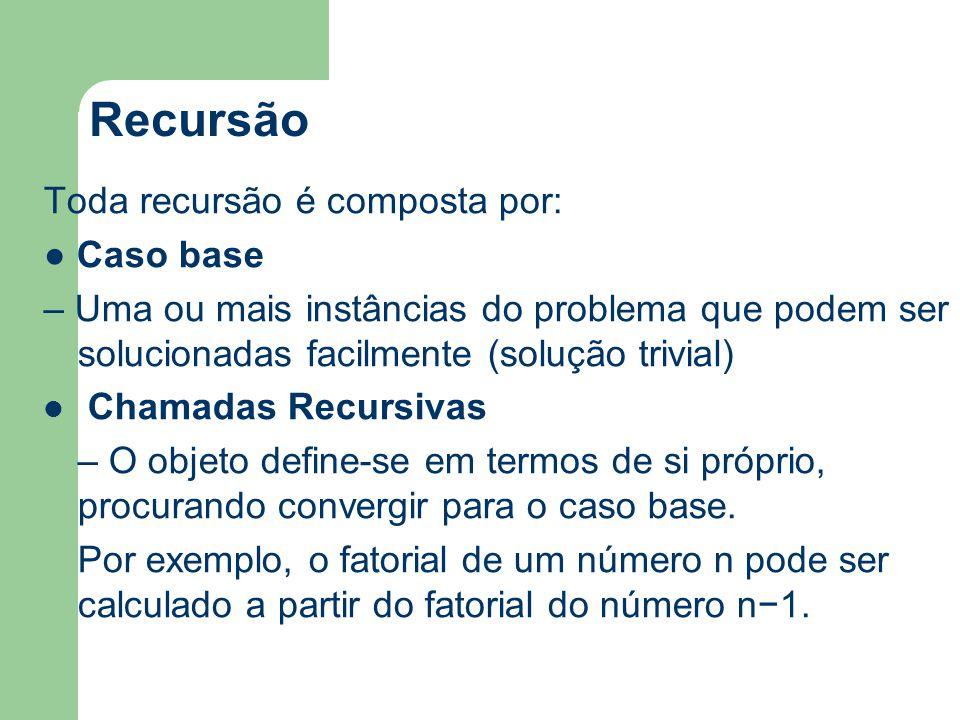 Recursão Esquematicamente, os algoritmos recursivos tem a seguinte forma: Se então resolução direta para o caso base Senão uma ou mais chamadas recursivas Fim se Sem a condição de parada, expressa no caso base, uma recursão iria se repetir indefinidamente.