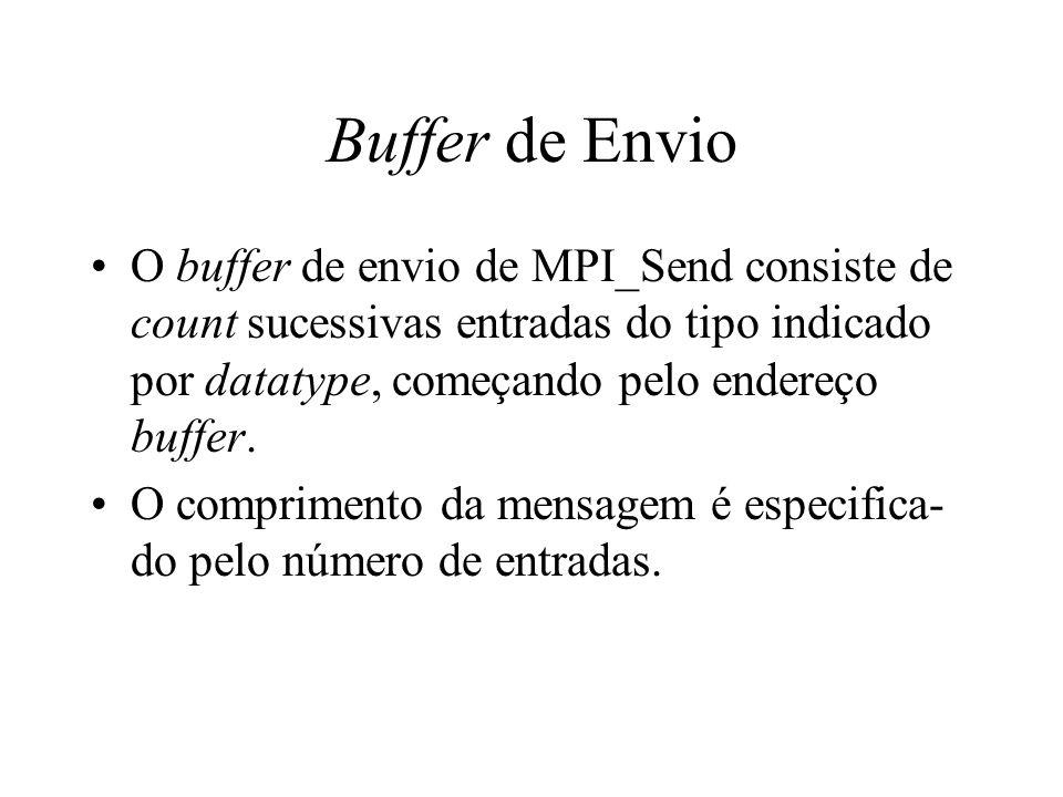 Buffer de Envio O buffer de envio de MPI_Send consiste de count sucessivas entradas do tipo indicado por datatype, começando pelo endereço buffer. O c