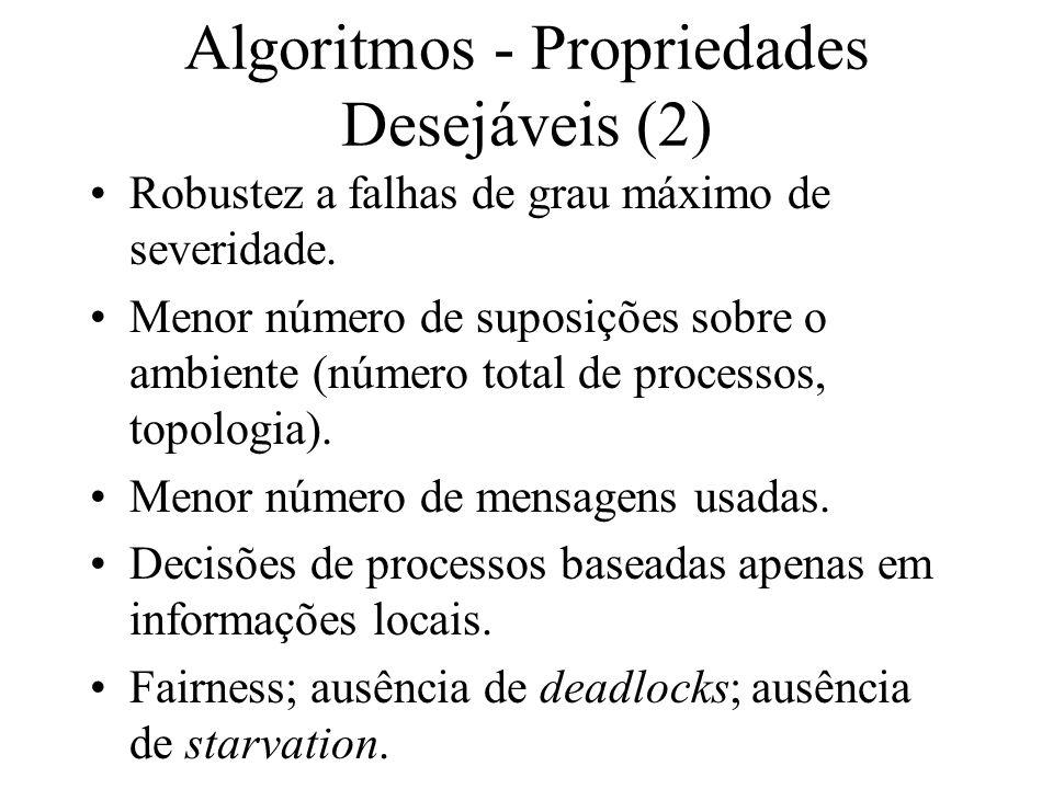 Algoritmos - Propriedades Desejáveis (2) Robustez a falhas de grau máximo de severidade. Menor número de suposições sobre o ambiente (número total de