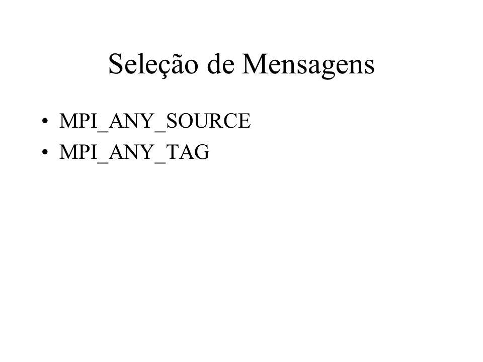Seleção de Mensagens MPI_ANY_SOURCE MPI_ANY_TAG