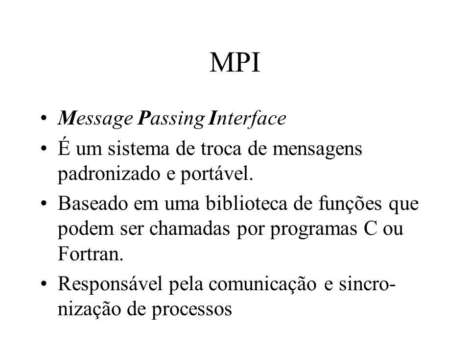 MPI Message Passing Interface É um sistema de troca de mensagens padronizado e portável. Baseado em uma biblioteca de funções que podem ser chamadas p
