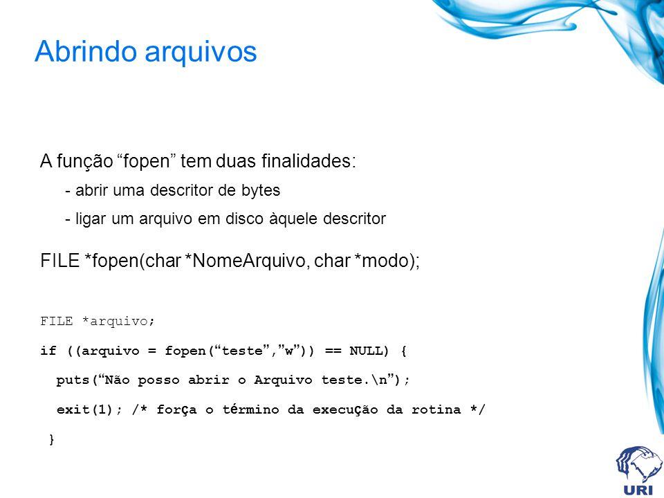 Abrindo arquivos A função fopen tem duas finalidades: - abrir uma descritor de bytes - ligar um arquivo em disco àquele descritor FILE *fopen(char *NomeArquivo, char *modo); FILE *arquivo; if ((arquivo = fopen( teste , w )) == NULL) { puts( Não posso abrir o Arquivo teste.\n ); exit(1); /* for ç a o t é rmino da execu ç ão da rotina */ }