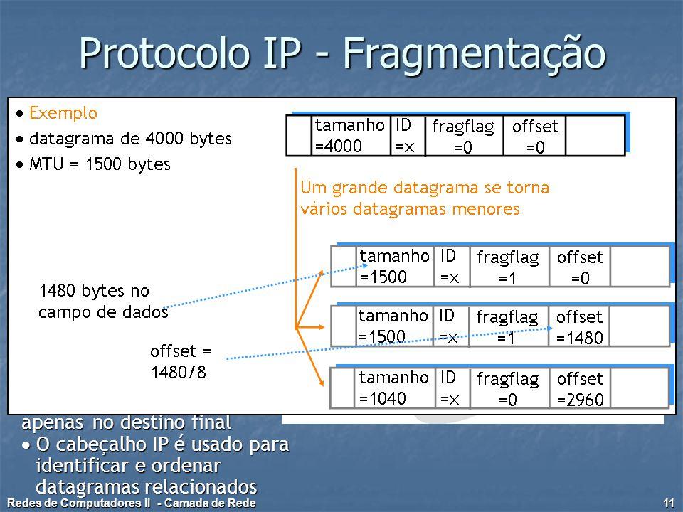 Protocolo IP - Fragmentação  Enlaces de rede têm MTU (max. transfer size) — corresponde ao maior frame que pode ser transportado pela camada de enlac