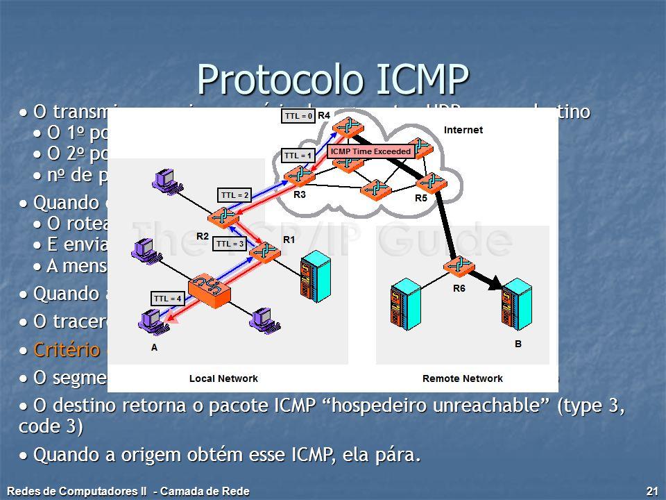 Protocolo ICMP  O transmissor envia uma série de segmentos UDP para o destino  O 1 o possui TTL = 1  O 2 o possui TTL = 2 etc.  n o de porta impro