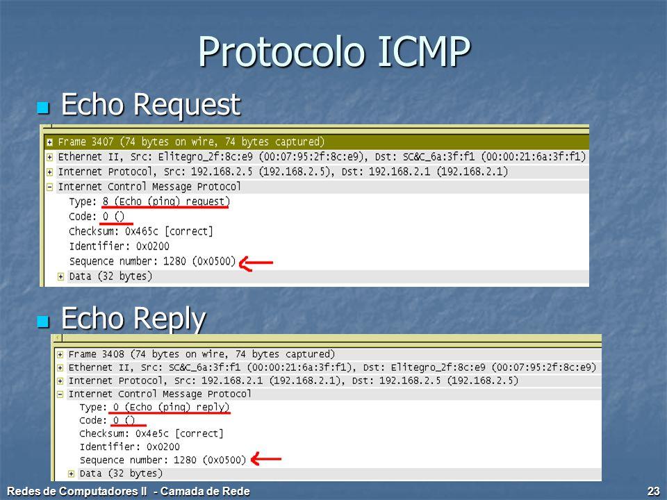 Protocolo ICMP Echo Request Echo Request Echo Reply Echo Reply Redes de Computadores II - Camada de Rede 23