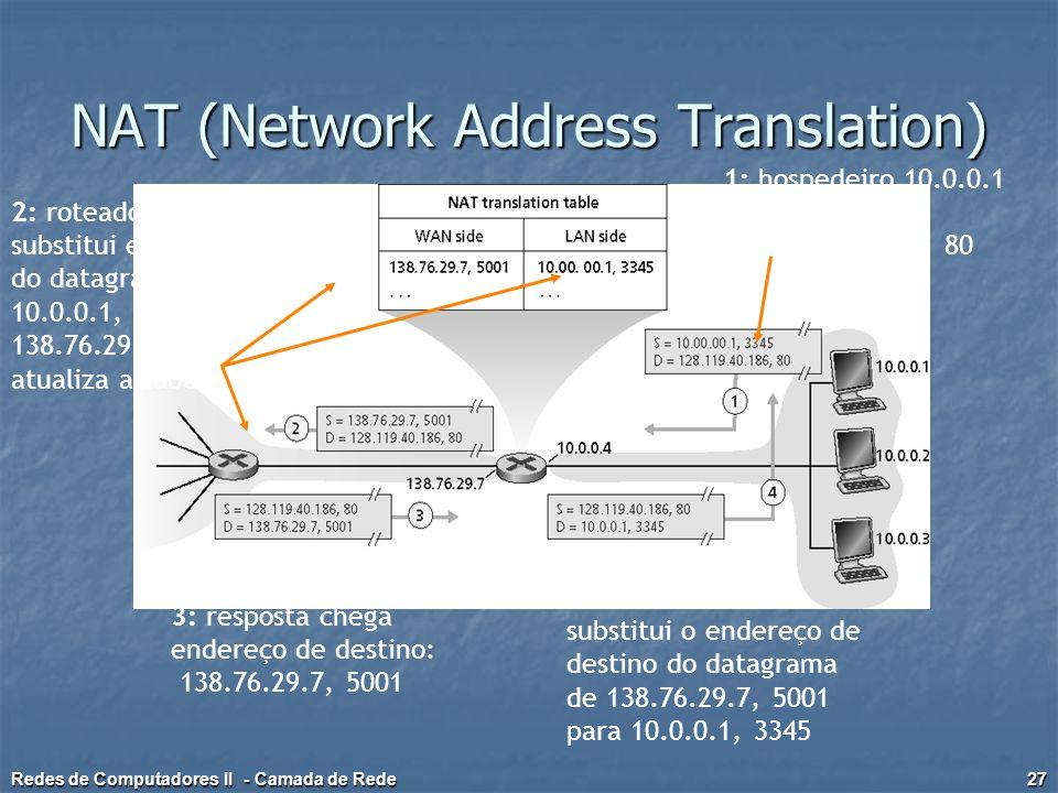 1: hospedeiro 10.0.0.1 envia datagrama para 128.119.40, 80 2: roteador NAT substitui end. origem do datagrama de 10.0.0.1, 3345 para 138.76.29.7, 5001