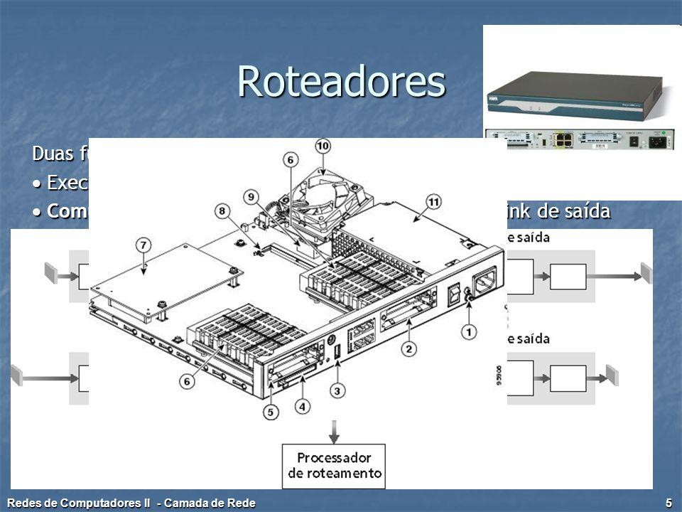 Roteadores – Portas de Entrada Comutação descentralizada:  Dado o destino do datagrama, procura a porta de saída usando a tabela de comutação na memória da porta de entrada  Objetivo: completar o processamento da porta de entrada na 'velocidade da linha'  Fila: se os datagramas chegam mais rápido do que a taxa de comutação para o switch Camada física: recepção de bits Camada de enlace: ex.: Ethernet (veja capítulo 5) Redes de Computadores II - Camada de Rede 6