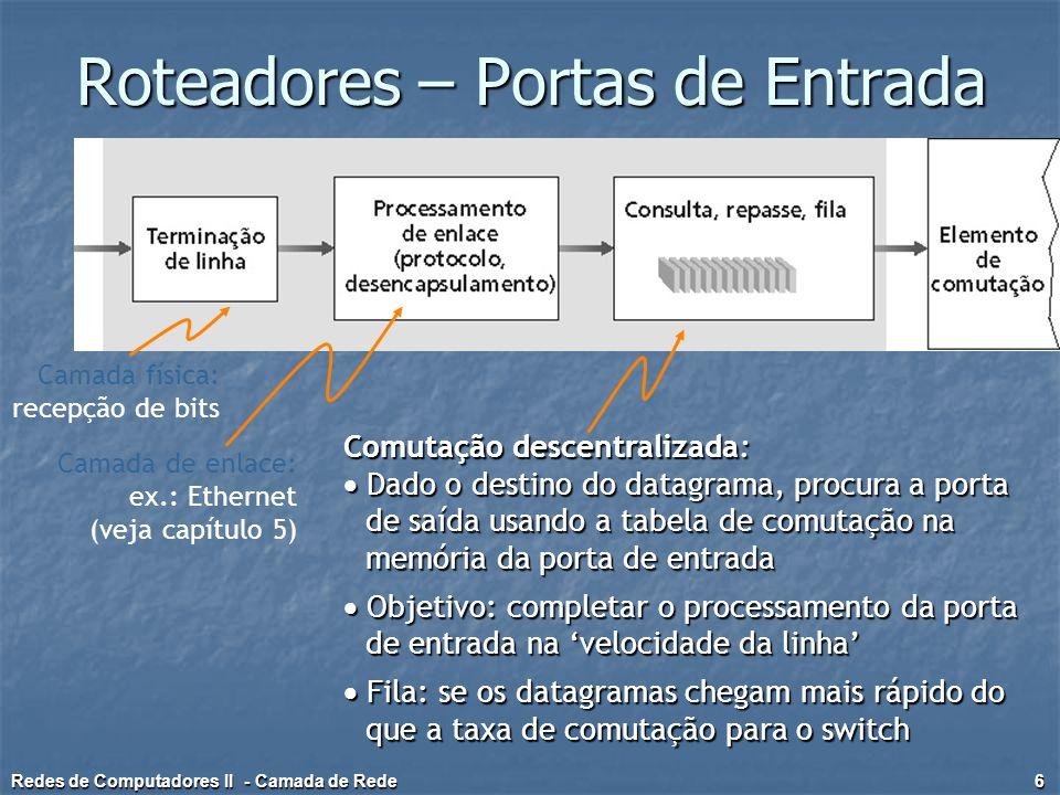 Roteadores – Portas de Saída  Buffering necessário quando datagramas chegam do switch mais rápido do que a taxa de transmissão  Disciplina de agendamento escolhe entre os datagramas na fila para transmissão Redes de Computadores II - Camada de Rede 7