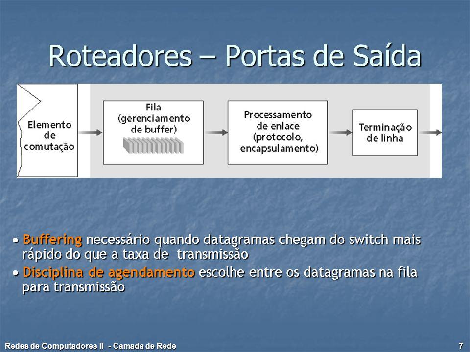 Roteamento Estático Default Gateway Default Gateway Define a saída padrão Define a saída padrão Representado como a rede 0.0.0.0 e máscara de subrede 0.0.0.0 Representado como a rede 0.0.0.0 e máscara de subrede 0.0.0.0 Rotas indiretas Rotas indiretas Adicionadas pelo administrador Adicionadas pelo administrador Que dizer que não está ligada diretamente ao roteador Que dizer que não está ligada diretamente ao roteador Rotas diretas Rotas diretas São aquelas que estão ligadas diretamente as interfaces do roteador São aquelas que estão ligadas diretamente as interfaces do roteador Redes de Computadores II - Camada de Rede 18