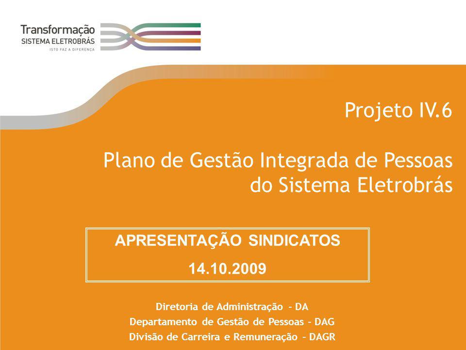 Projeto IV.6 Plano de Gestão Integrada de Pessoas do Sistema Eletrobrás Diretoria de Administração - DA Departamento de Gestão de Pessoas - DAG Divisã