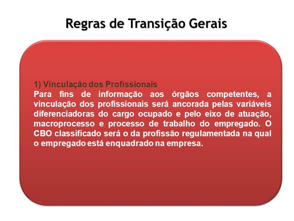 Regras de Transição Gerais 1) Vinculação dos Profissionais Para fins de informação aos órgãos competentes, a vinculação dos profissionais será ancorad