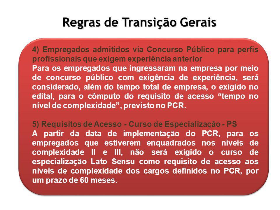 Regras de Transição Gerais 4) Empregados admitidos via Concurso Público para perfis profissionais que exigem experiência anterior Para os empregados q