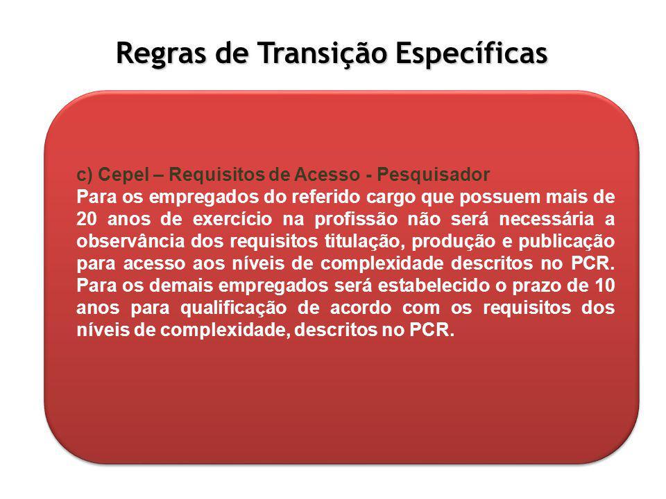 Regras de Transição Específicas c) Cepel – Requisitos de Acesso - Pesquisador Para os empregados do referido cargo que possuem mais de 20 anos de exer