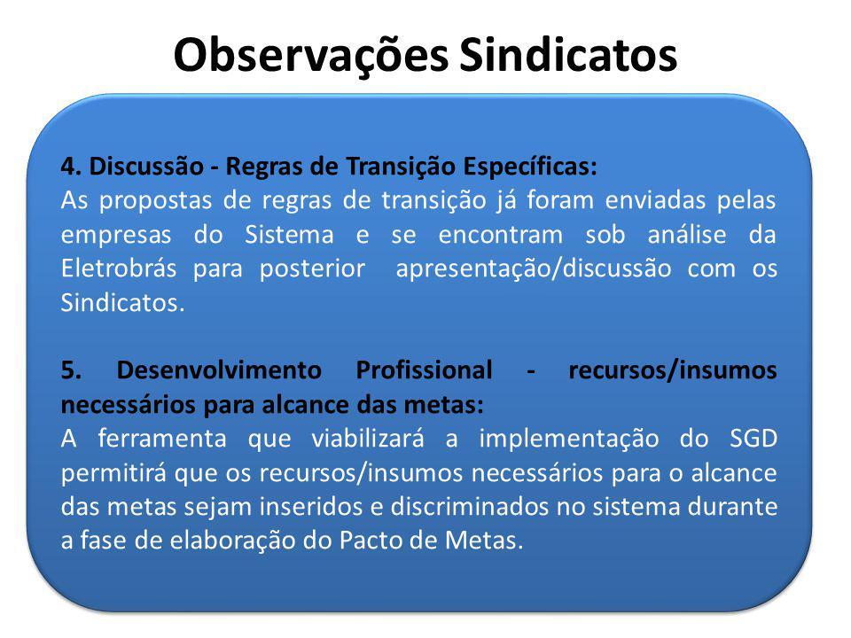 4. Discussão - Regras de Transição Específicas: As propostas de regras de transição já foram enviadas pelas empresas do Sistema e se encontram sob aná