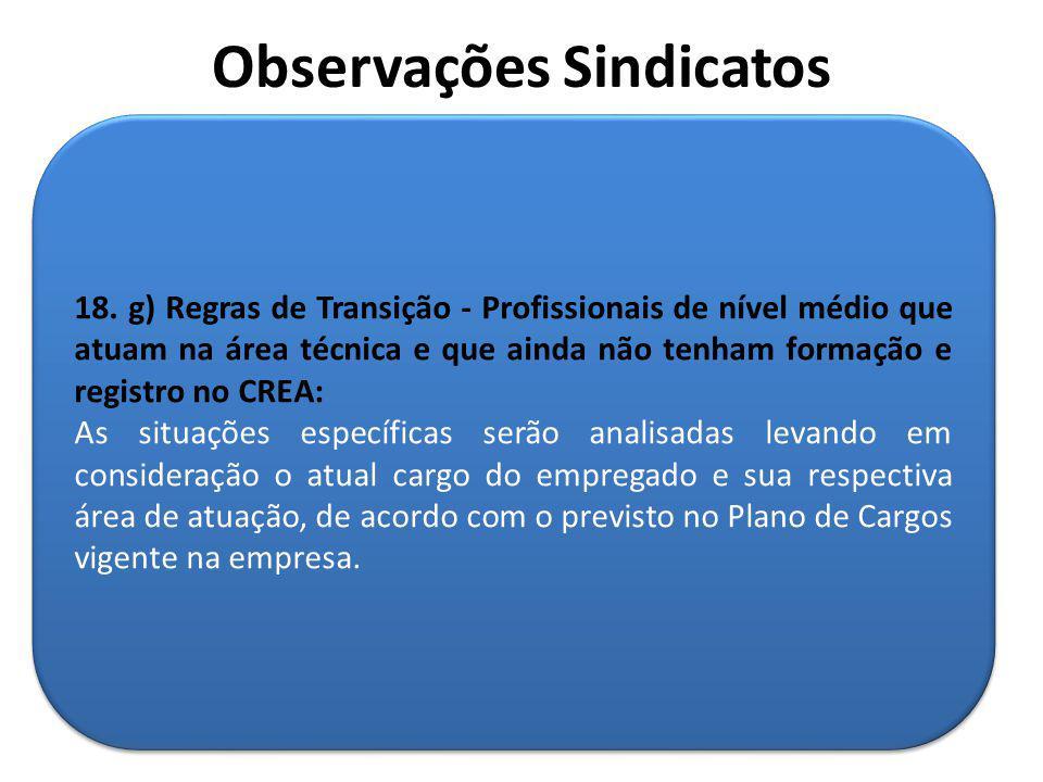 18. g) Regras de Transição - Profissionais de nível médio que atuam na área técnica e que ainda não tenham formação e registro no CREA: As situações e