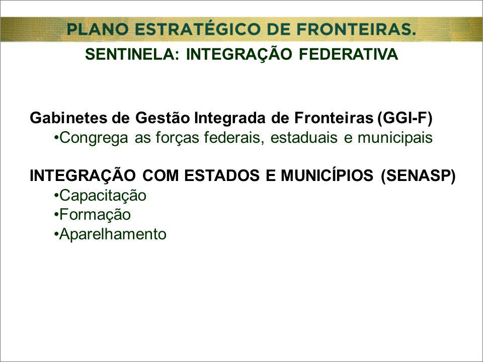 Gabinetes de Gestão Integrada de Fronteiras (GGI-F) Congrega as forças federais, estaduais e municipais INTEGRAÇÃO COM ESTADOS E MUNICÍPIOS (SENASP) Capacitação Formação Aparelhamento SENTINELA: INTEGRAÇÃO FEDERATIVA