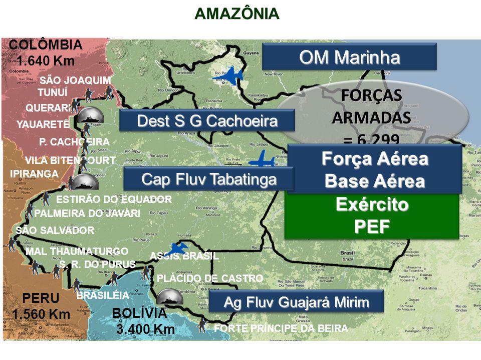 AMAZÔNIA COLÔMBIA 1.640 Km PERU 1.560 Km BOLÍVIA 3.400 Km OM Marinha Ag Fluv Guajará Mirim FORÇAS ARMADAS = 6.299 TUNUÍ QUERARI YAUARETÊ P.