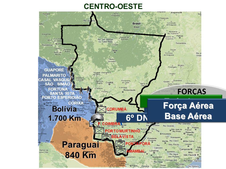 CENTRO-OESTEParaguai 840 Km Bolívia 1.700 Km FORÇAS ARMADAS = 8.250 OM Marinha 6º DN - Ladário Exército Força Aérea Base Aérea CORIXA PORTO ESPERIDIÃO SANTA RITA FORTUNA SÃO SIMÃO PALMARITO GUAPORÉ CASAL VASQUES CORUMBÁ PORTO MURTINHO BELA VISTA PONTA PORÃ AMAMBAÍ F.