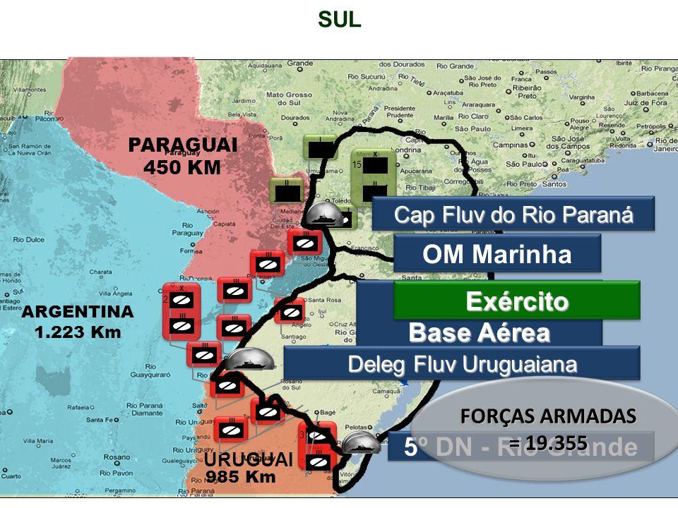 SUL PARAGUAI 450 KM ARGENTINA 1.223 Km URUGUAI 985 Km 15 x II I I III 3 x 2 x 1 x Cap Fluv do Rio Paraná Força Aérea Base Aérea OM Marinha Exército Deleg Fluv Uruguaiana 5º DN - Rio Grande FORÇAS ARMADAS = 19.355
