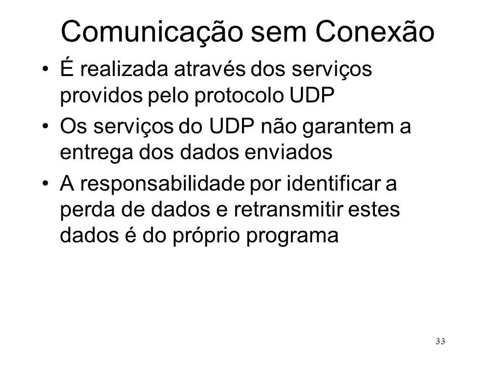 33 Comunicação sem Conexão É realizada através dos serviços providos pelo protocolo UDP Os serviços do UDP não garantem a entrega dos dados enviados A responsabilidade por identificar a perda de dados e retransmitir estes dados é do próprio programa