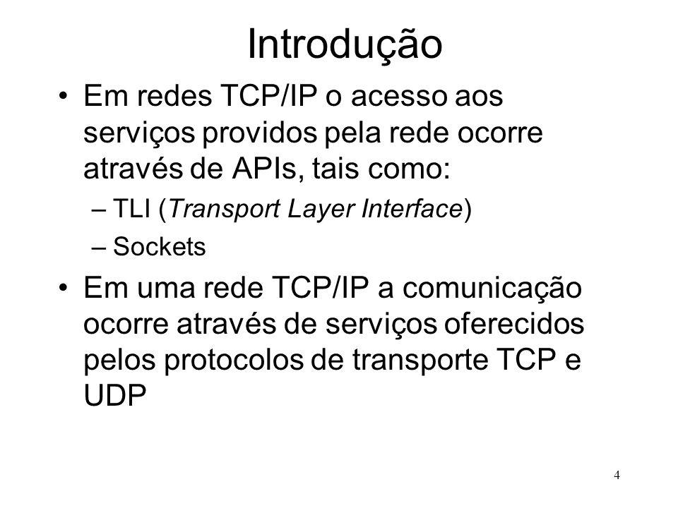4 Introdução Em redes TCP/IP o acesso aos serviços providos pela rede ocorre através de APIs, tais como: –TLI (Transport Layer Interface) –Sockets Em uma rede TCP/IP a comunicação ocorre através de serviços oferecidos pelos protocolos de transporte TCP e UDP