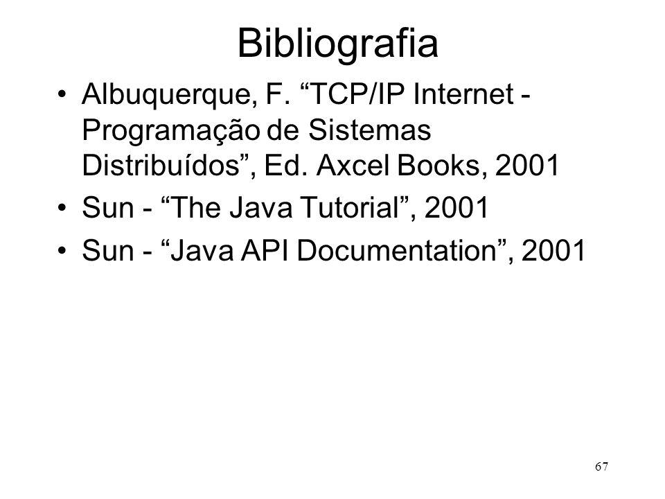 67 Bibliografia Albuquerque, F. TCP/IP Internet - Programação de Sistemas Distribuídos , Ed.