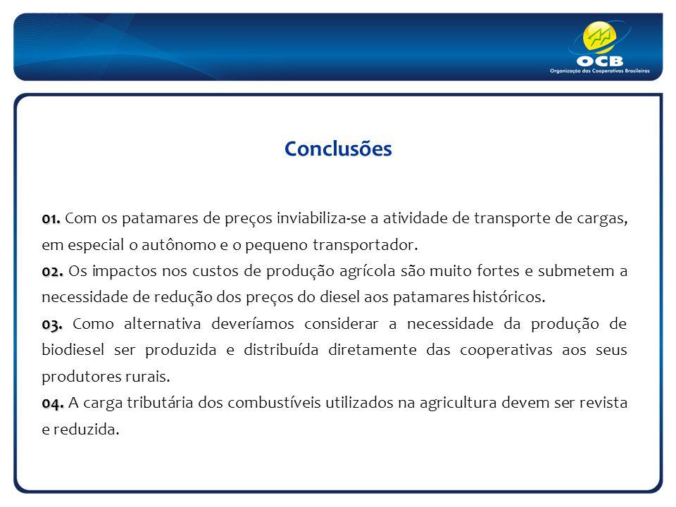 Conclusões 01. 01. Com os patamares de preços inviabiliza-se a atividade de transporte de cargas, em especial o autônomo e o pequeno transportador. 02
