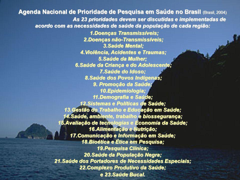 Agenda Nacional de Prioridade de Pesquisa em Saúde no Brasil (Brasil, 2004) As 23 prioridades devem ser discutidas e implementadas de acordo com as ne