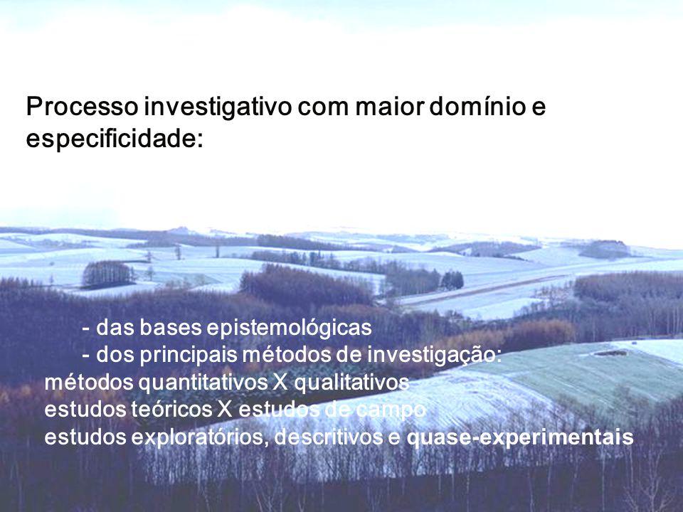 Processo investigativo com maior domínio e especificidade: - das bases epistemológicas - dos principais métodos de investigação: métodos quantitativos