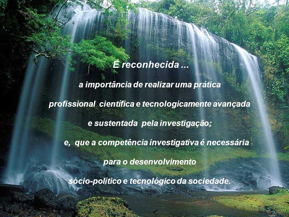 É reconhecida... a importância de realizar uma prática profissional científica e tecnologicamente avançada e sustentada pela investigação; e, que a co