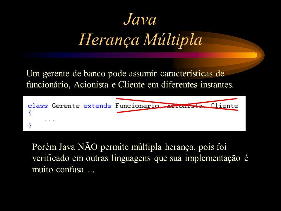 Java Herança Múltipla Um gerente de banco pode assumir características de funcionário, Acionista e Cliente em diferentes instantes. Porém Java NÃO per